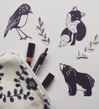 bear robin fox stamps